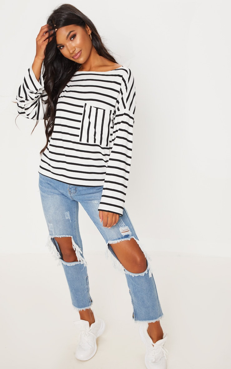Monochrome Stripe Pocket Detail Long Sleeve Top 4