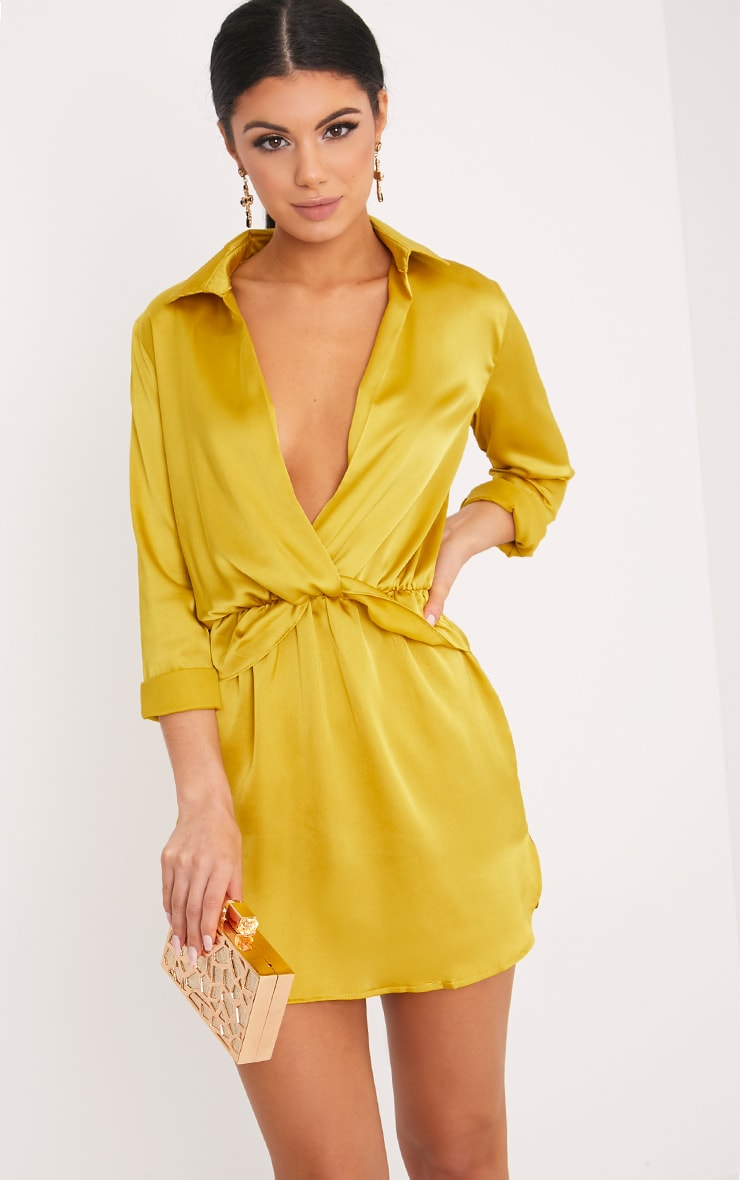 d599042f66e Katalea Dark Lime Twist Front Silky Shirt Dress image 1