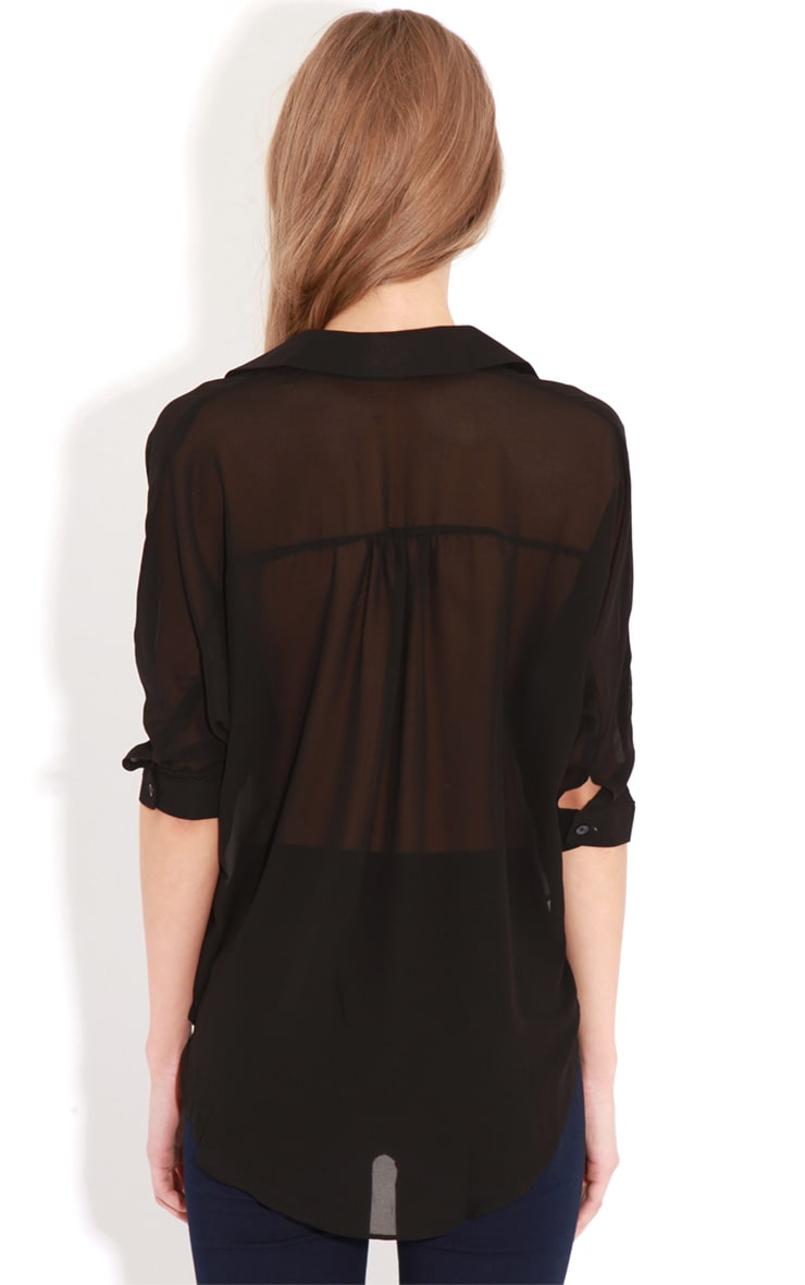 Cate Black Sheer Wrap Front Blouse 2