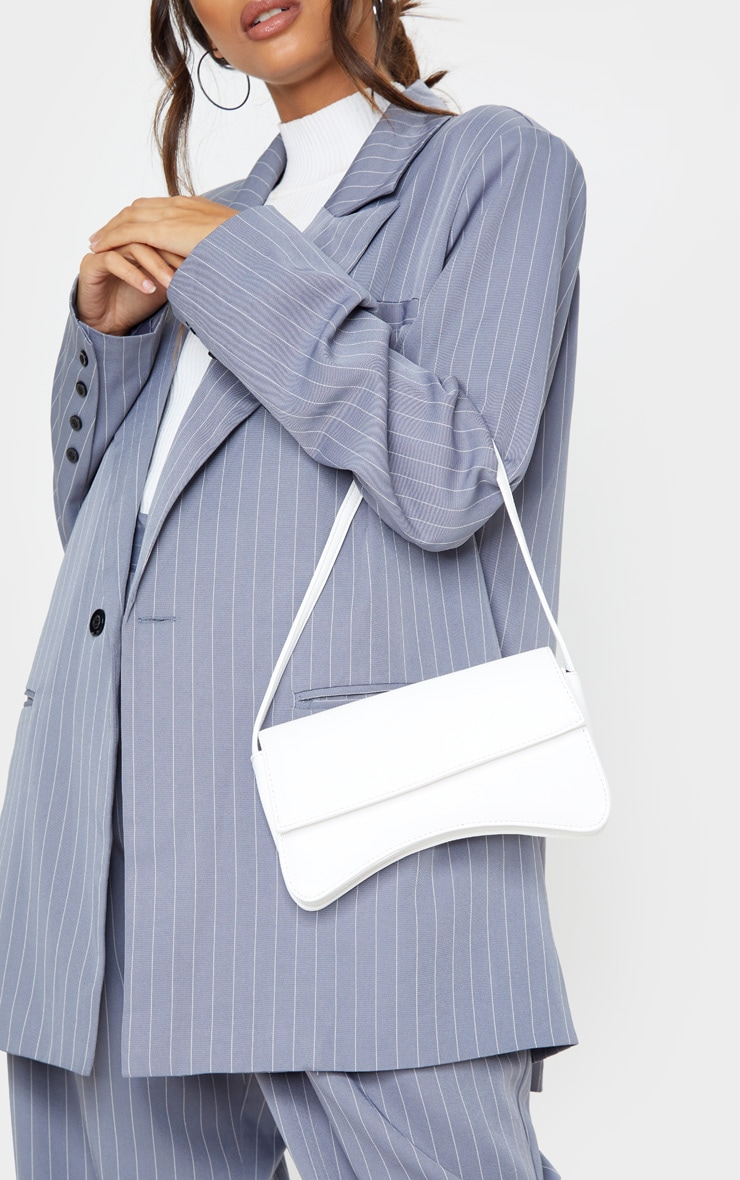 White Pu Flap Over Baguette Shoulder Bag by Prettylittlething