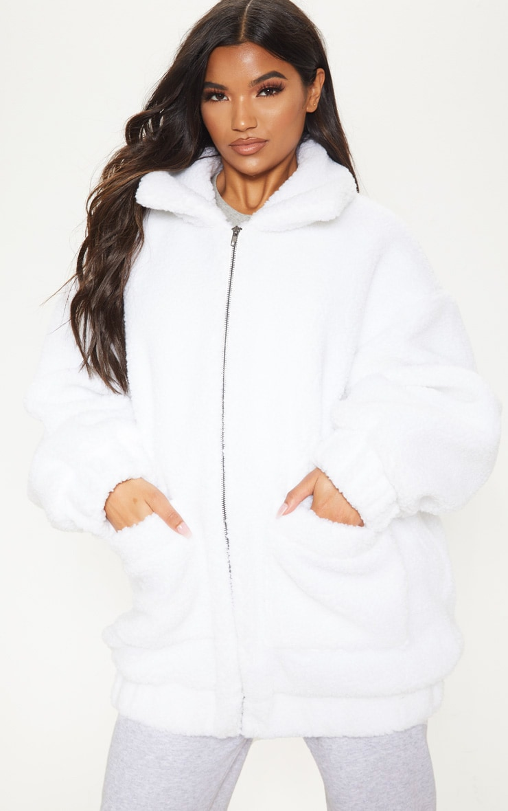 White Oversized Borg Pocket Front Coat 4