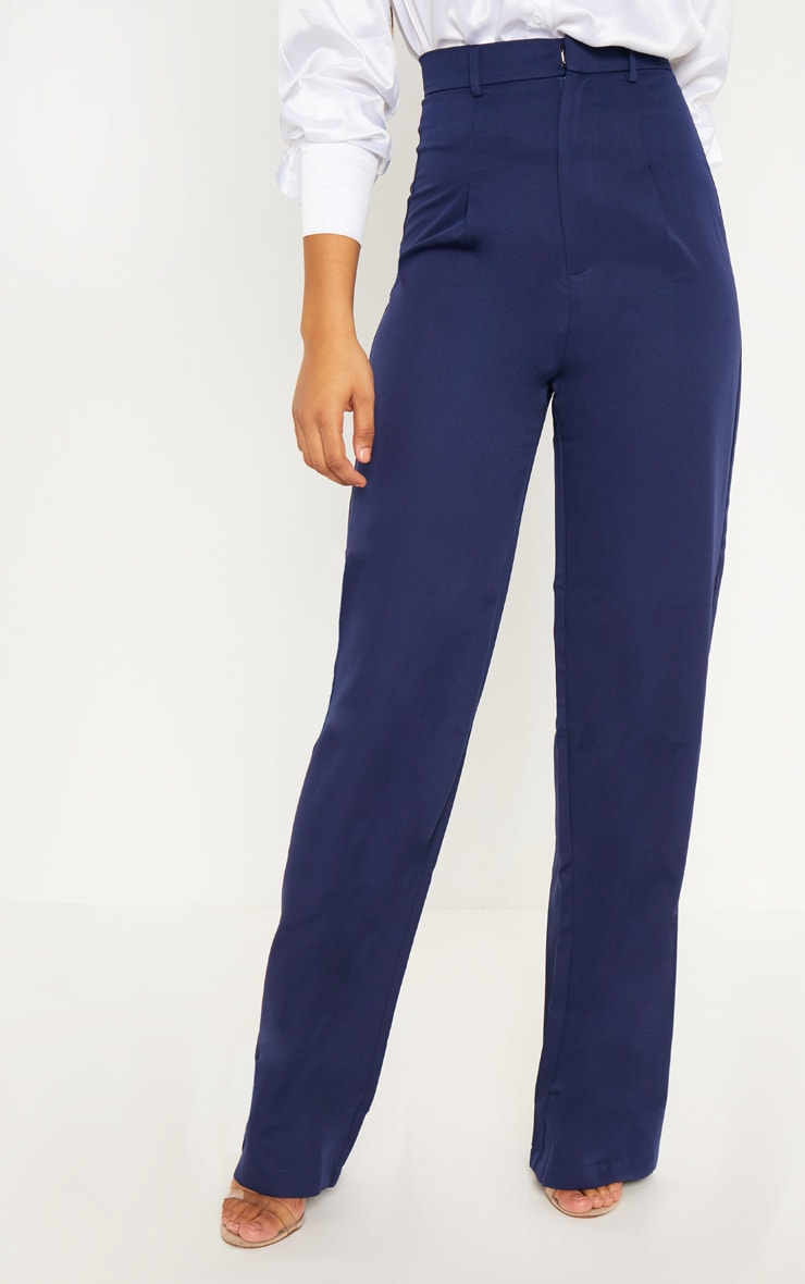 Tall Navy High Waist Wide Leg Trousers 2