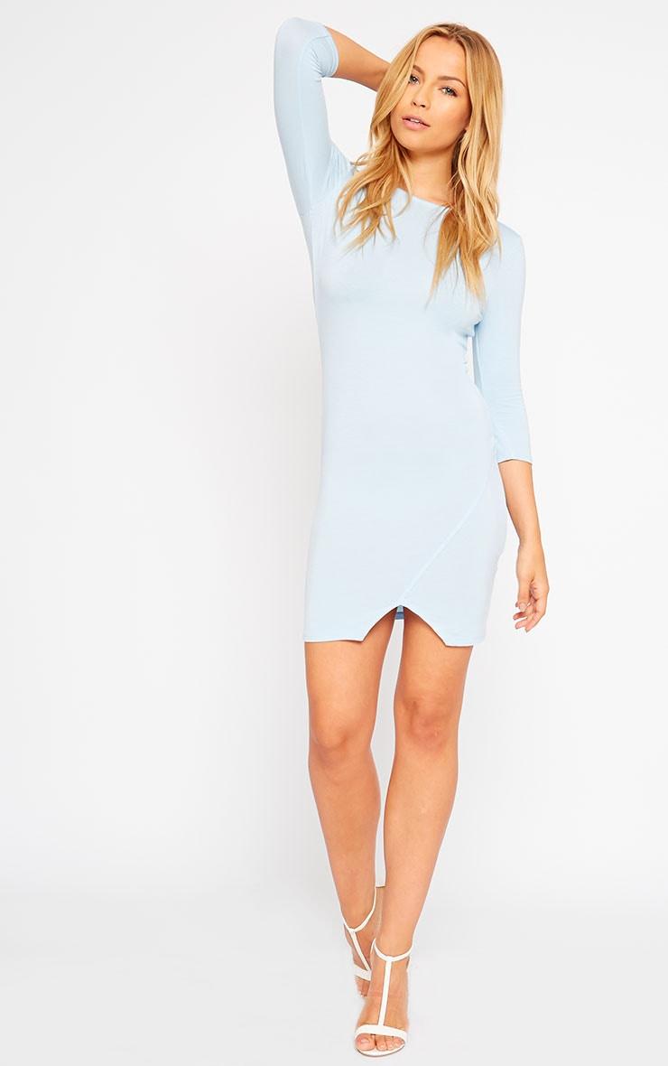 Basic Powder Blue Scoop Back V Hem Dress 3
