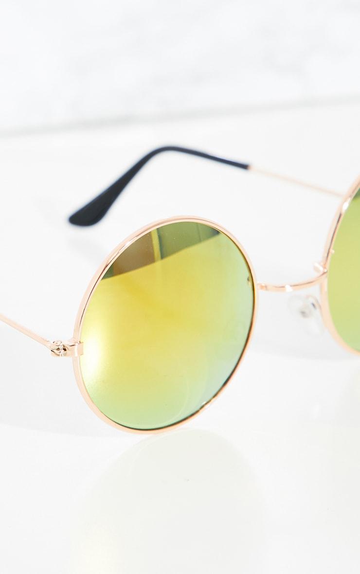 Orange Round Metal Sunglasses 3