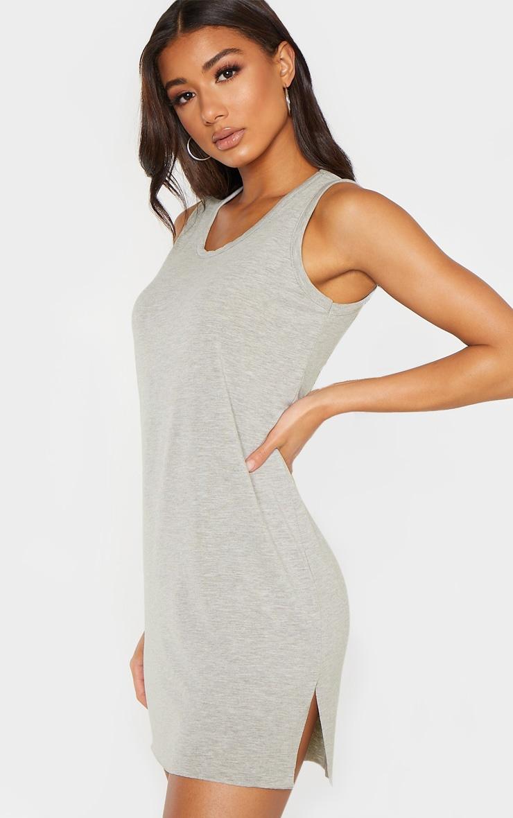 Grey Sleeveless Raw Edge Split T Shirt Dress 1