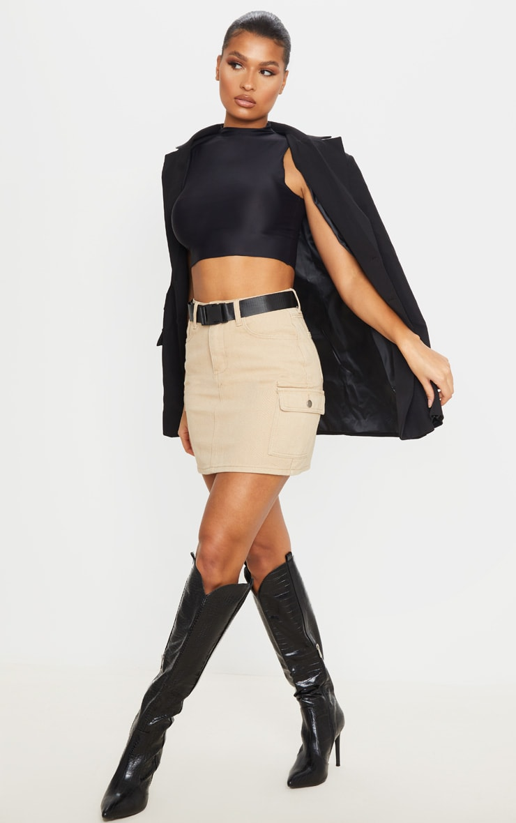 Stone Denim Utility Belted Skirt 1