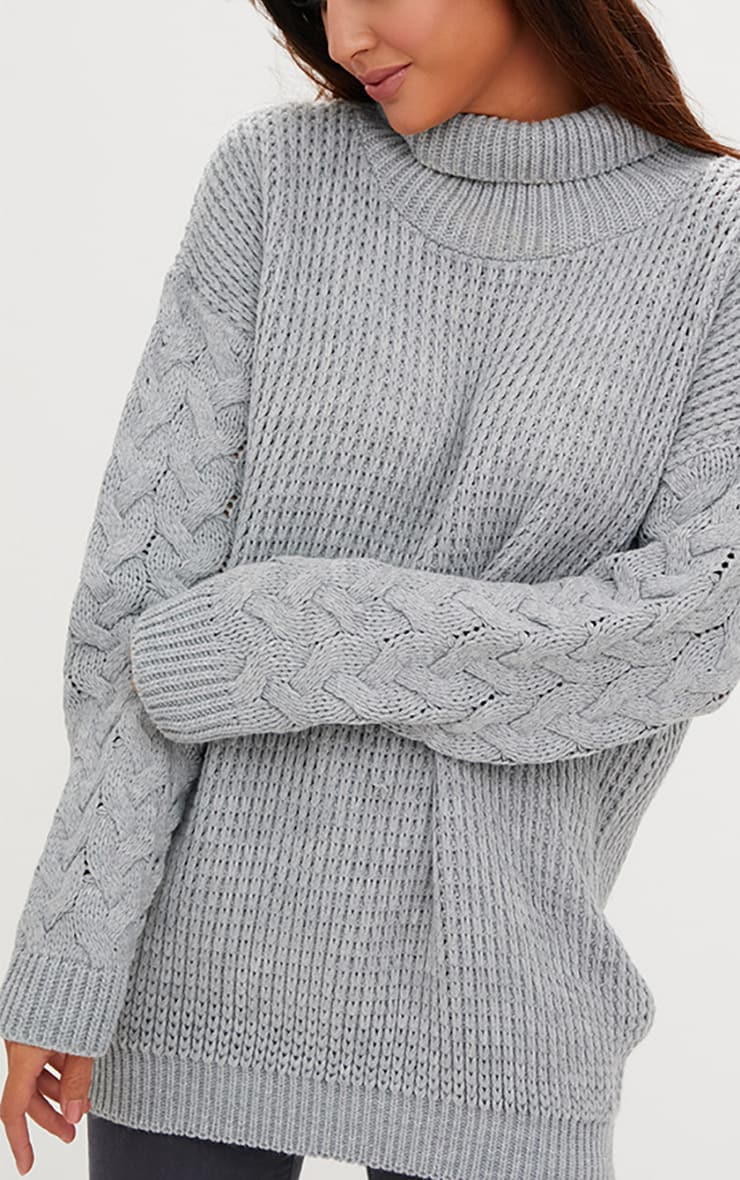 Grey Cable Knit Sleeve Jumper 5