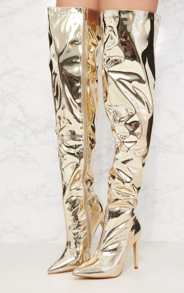 Gold Metallic Thigh High Boot 2