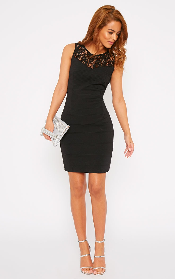 Primrose Black Lace Top Bandage Dress 6