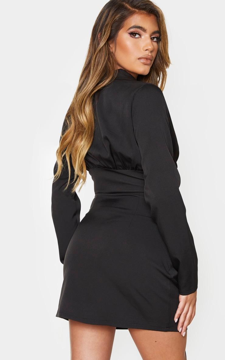 Black Corset Detail Long Sleeve Blazer Style Bodycon Dress 2