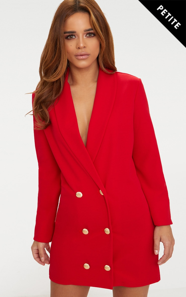 Petite Red Gold Button Oversized Blazer Dress 1
