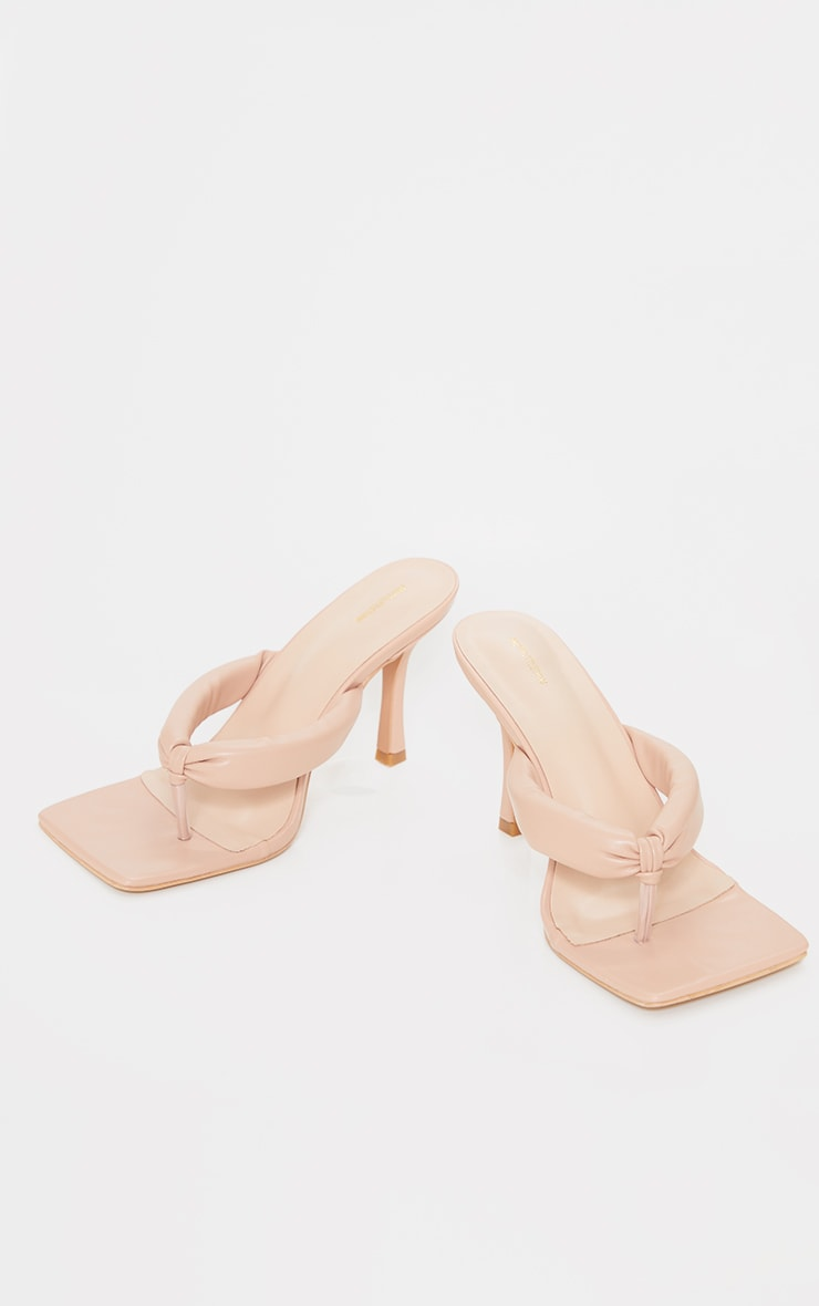 Nude Wide Fit Tube Strap Toe Thong Mid Heels 3