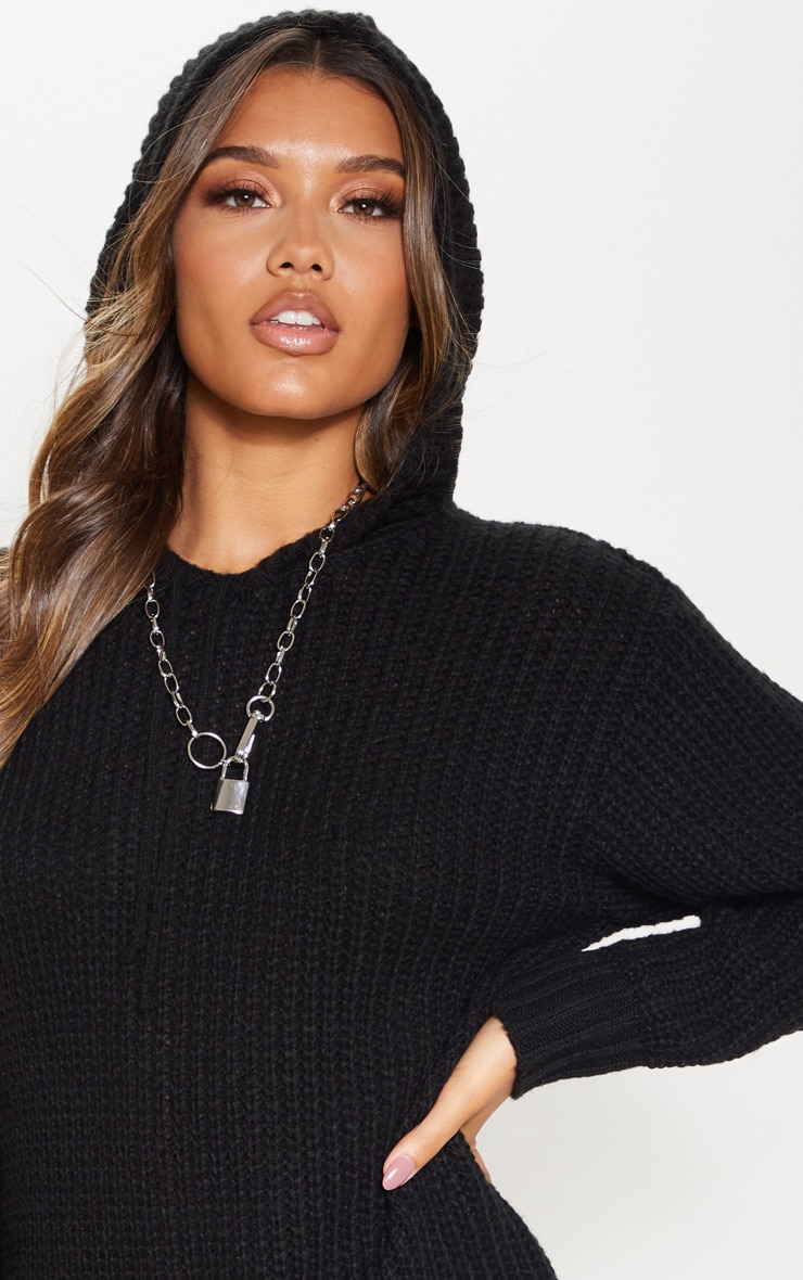Black Knitted Hooded Sweater Dress 5