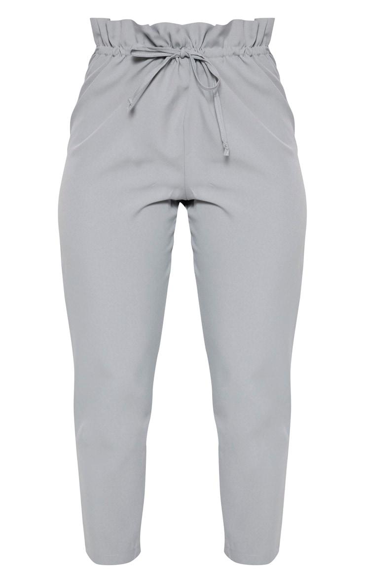 Grey Woven Paperbag Slim Leg Trousers 3