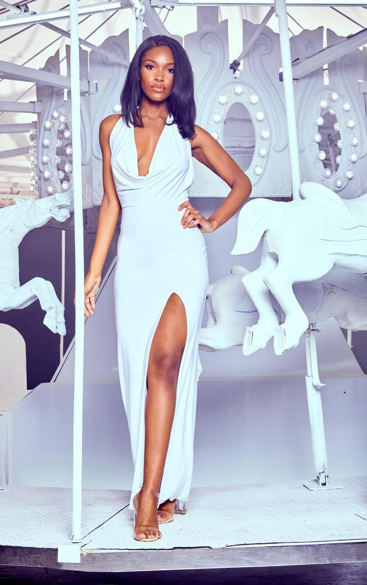 White Extreme Cowl Maxi Dress