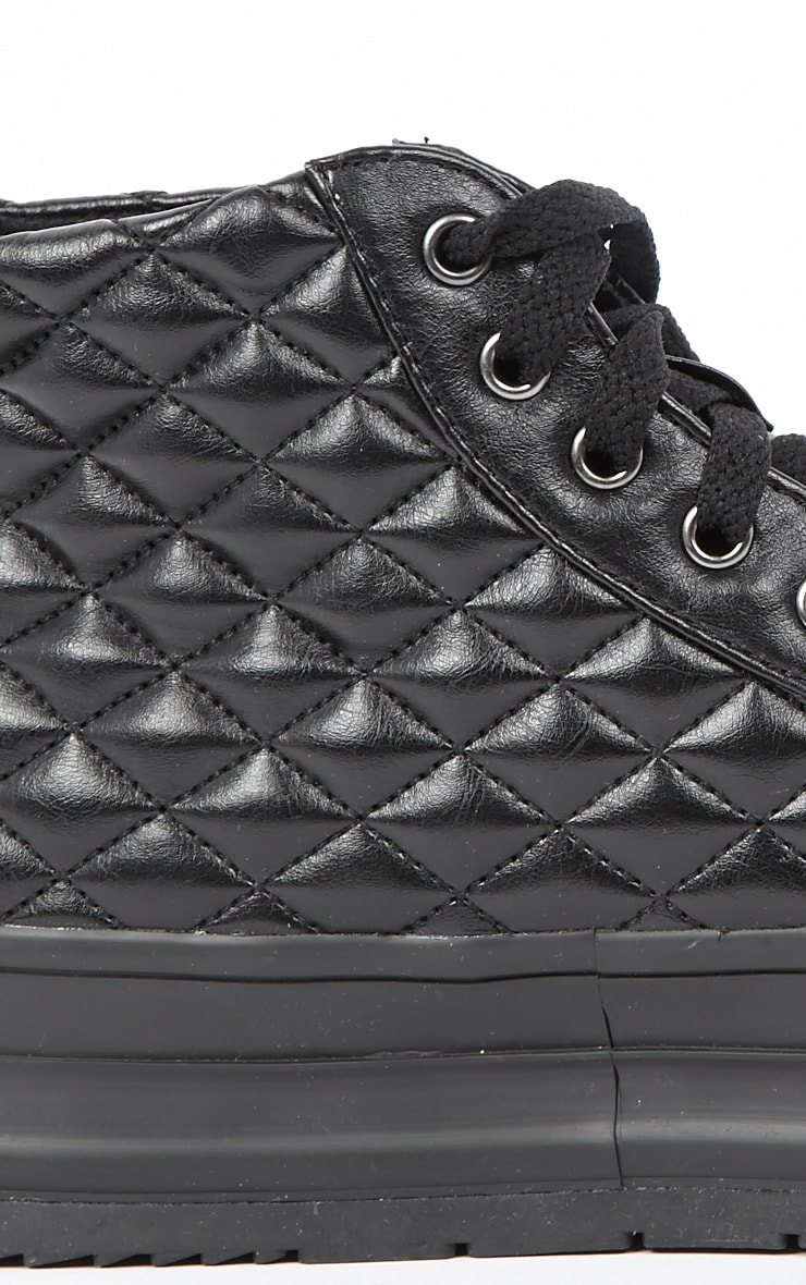 Naomi Black Quilted Leather Plimsolls 2