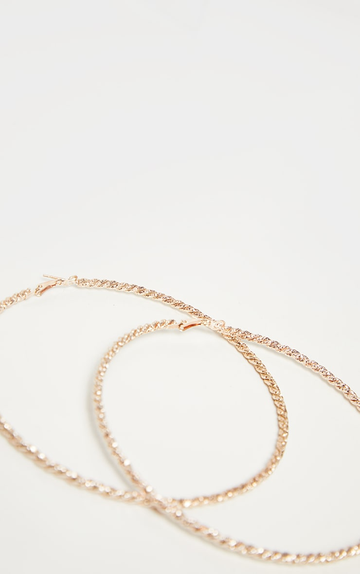Rose Gold Twisted Rope Oversized Hoop Earrings 3