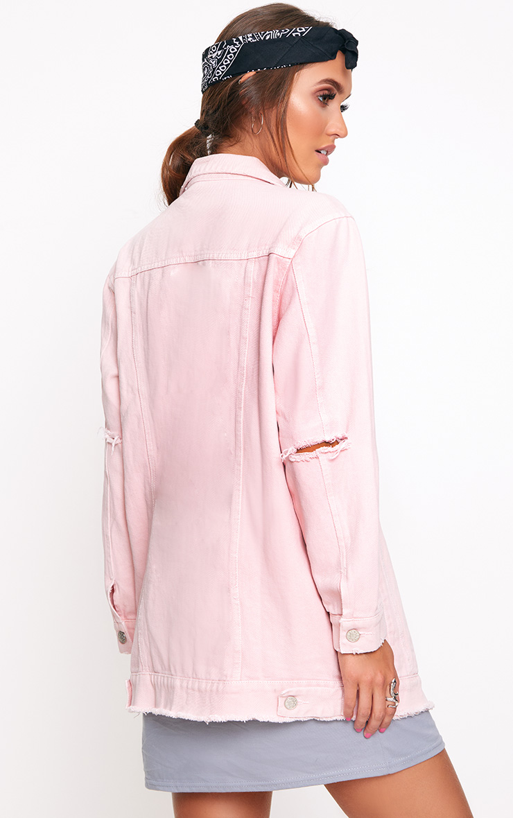 Light Pink Elbow Rip Denim Jacket 2
