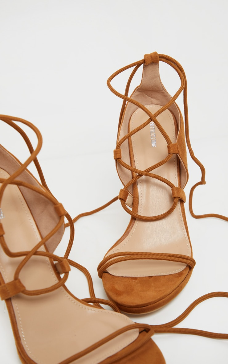 Tan Hiker Lace Up Tie Heeled Sandal 4