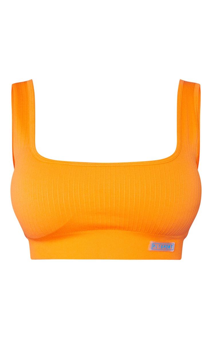 Orange Ribbed Seamless Badge Sports Bra 5