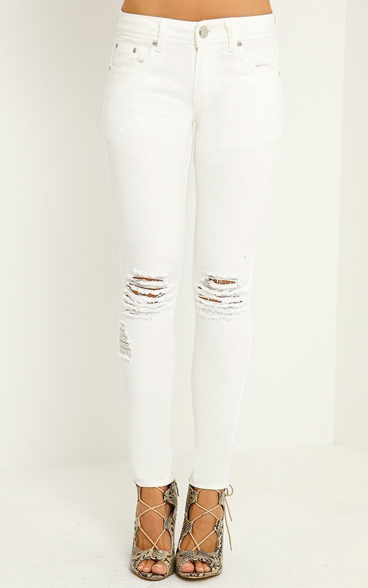 Reva Cream Ripped Skinny Jean 2