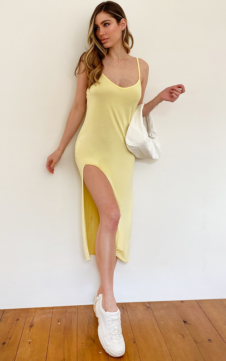 Lemon Jersey Split Cami Midi Dress 1