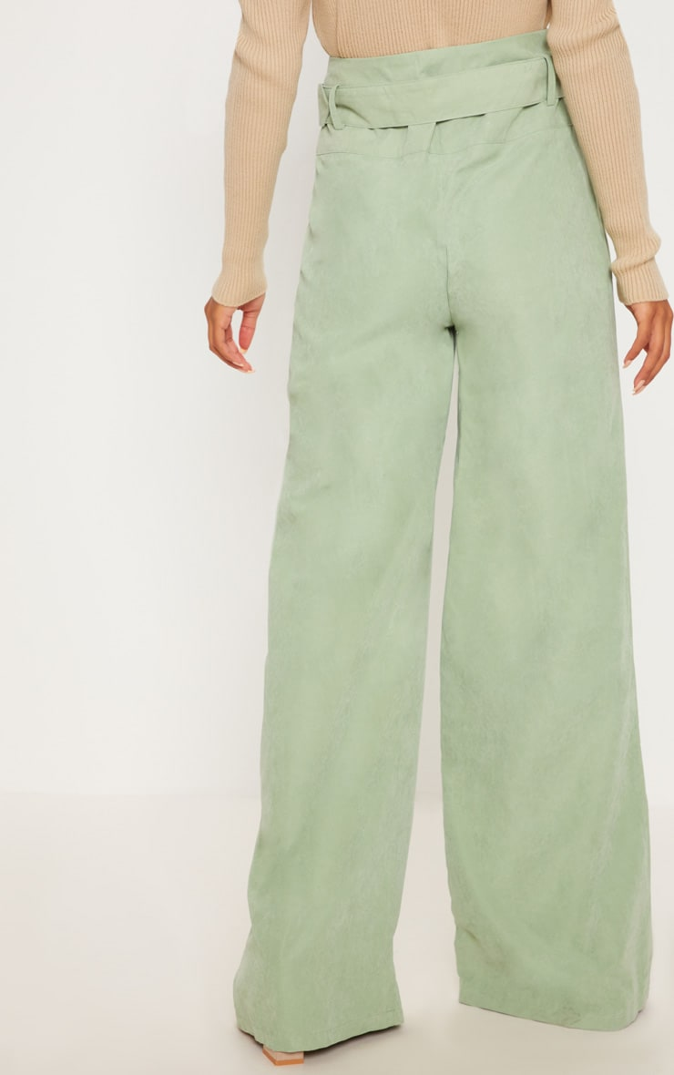 Sage Green Faux Suede Belted Wide Leg Pants 4