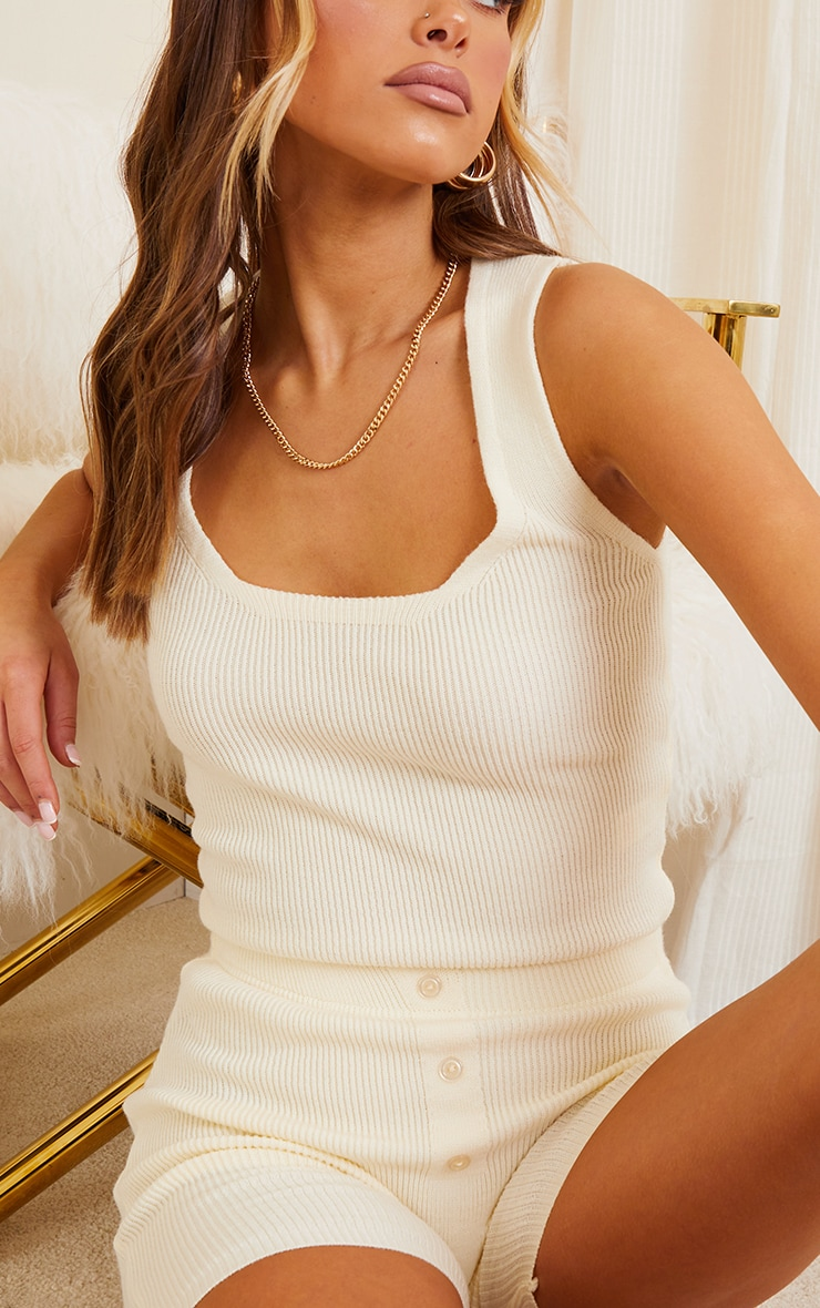 Cream Ribbed Knitted Crop Top