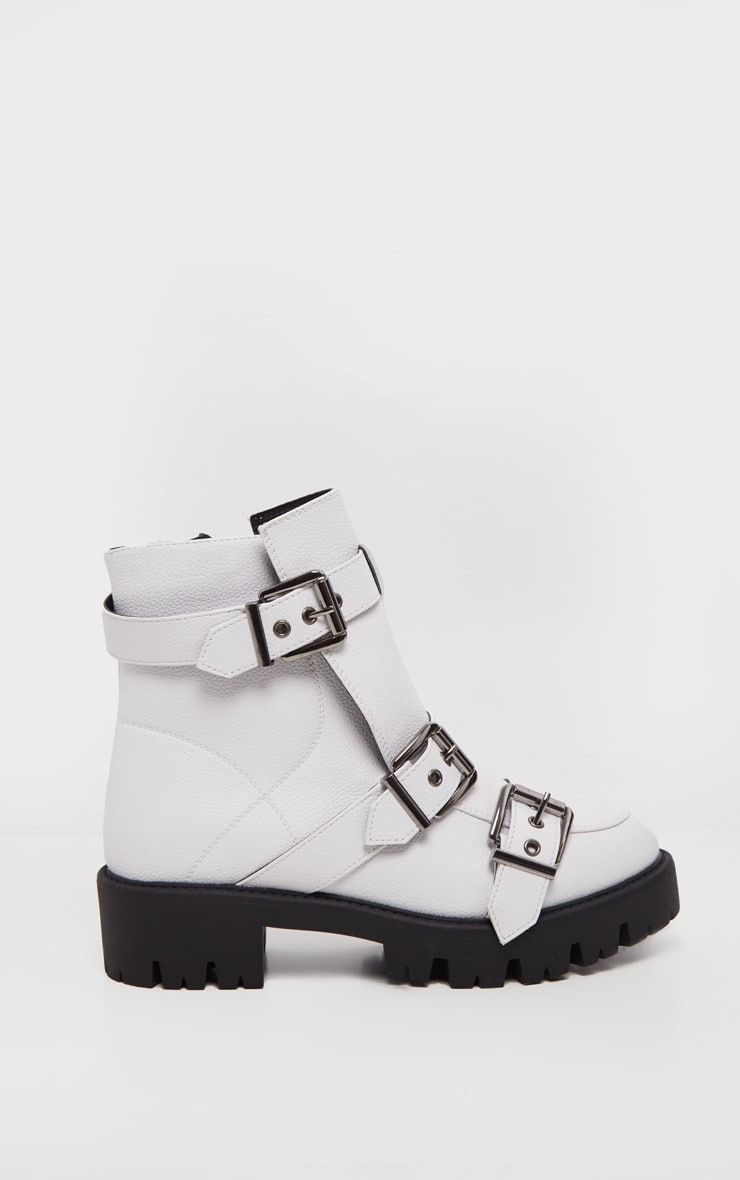 White Triple Buckle Cleated Hiker Ankle Boot 4