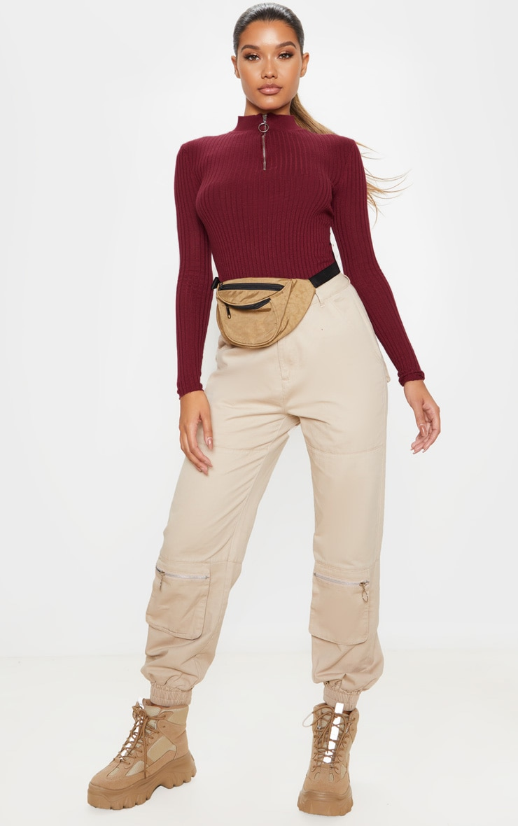 Wine Zip Front Knitted Rib Top 4