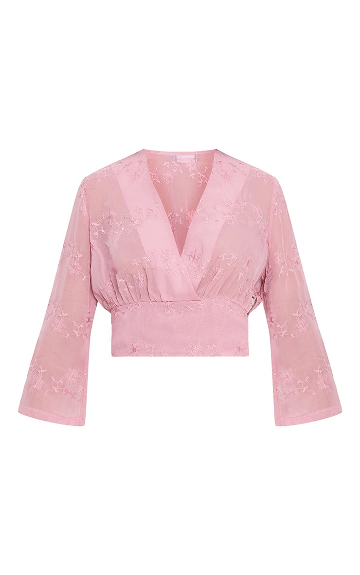 Blush Embroidered Plunge Crop Blouse 2