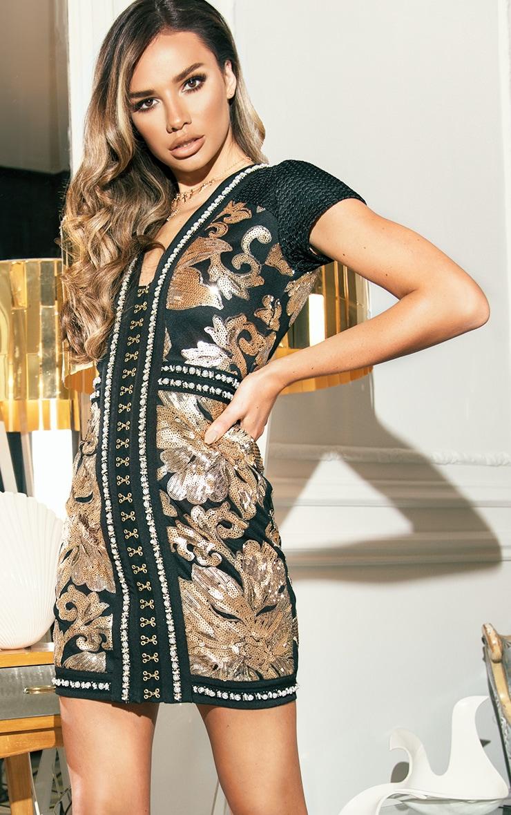 Esimee Black Premium Capped Sleeve Hook and Eye Bodycon Dress 1