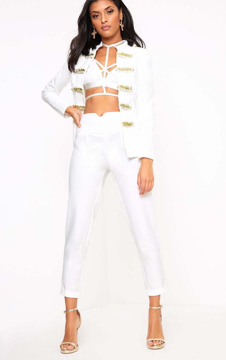 Braeley White Military Style Blazer 4