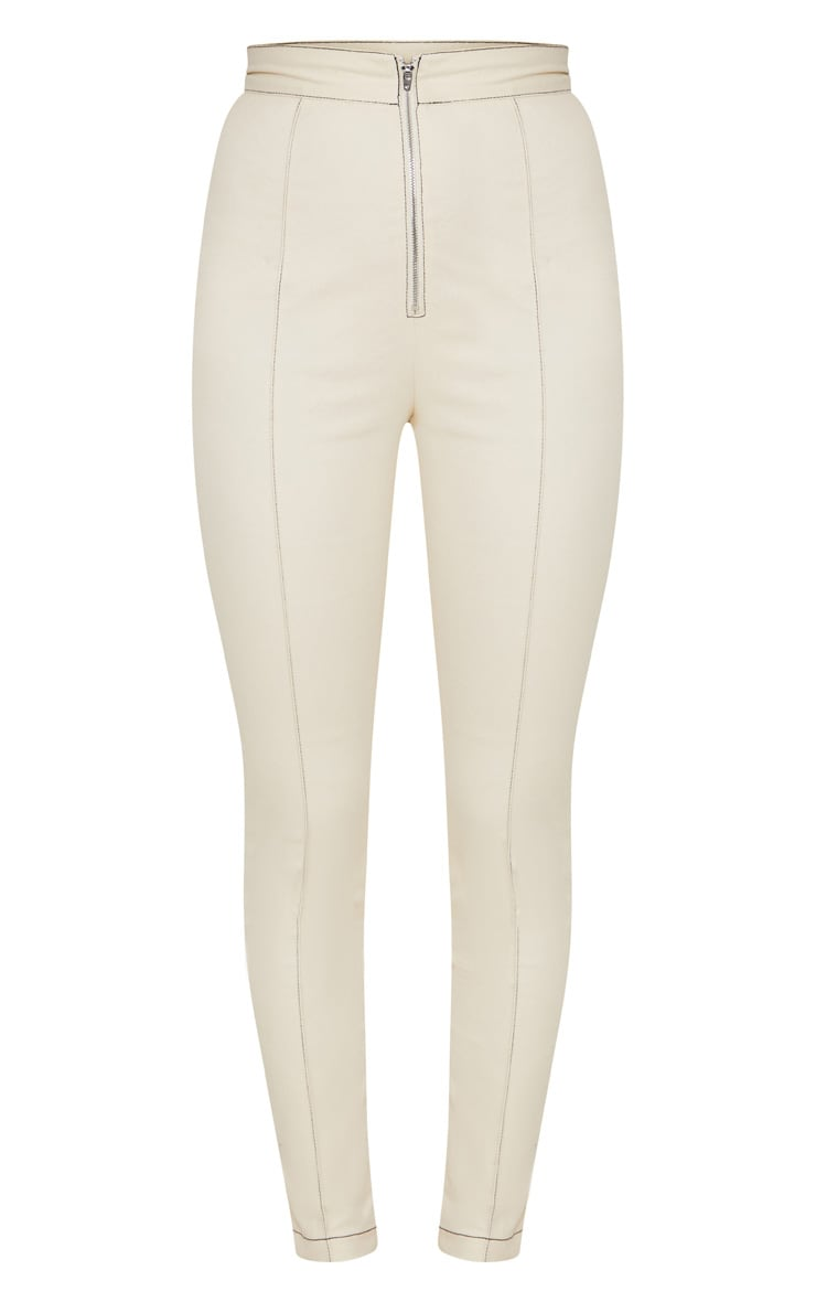 Cream Contrast Stitch Zip Front Cigarette Trouser 3