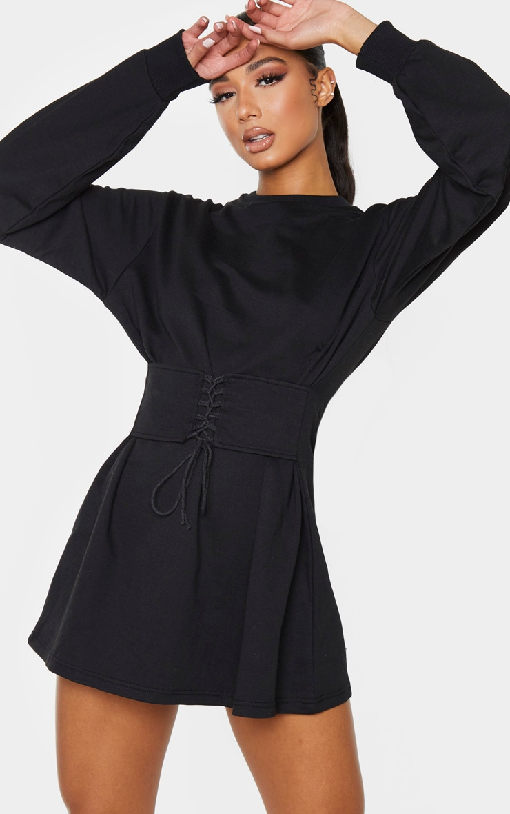 Black Corset Detail Jumper Dress 1