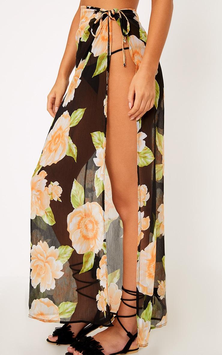 Black Floral Glitter Detail Beach Maxi Skirt 5