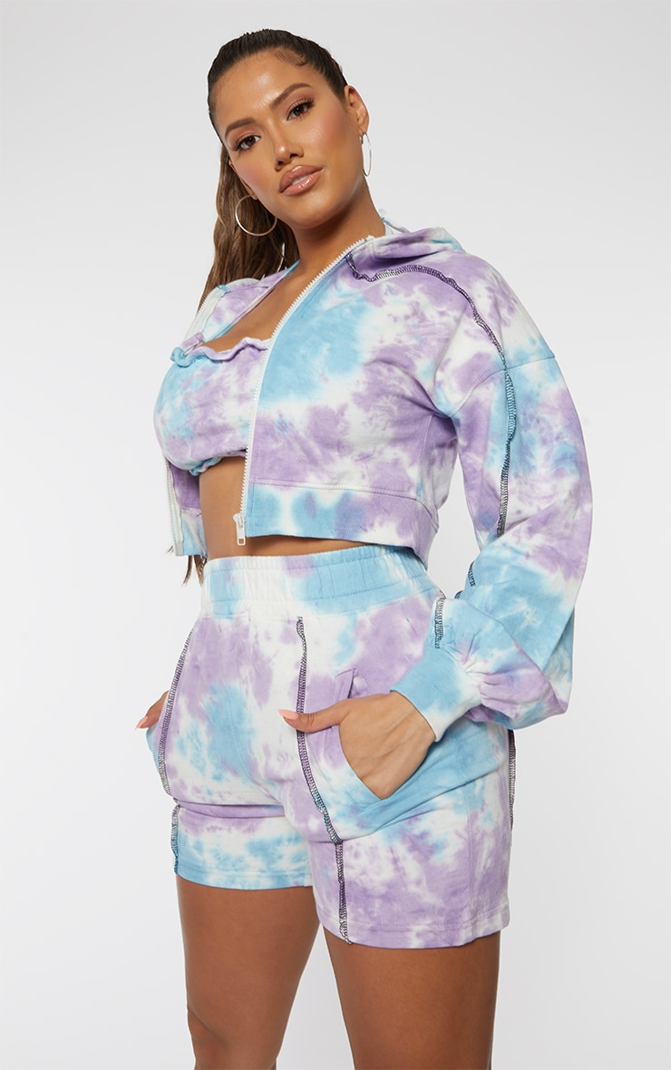 Shape Lilac Tie Dye Contrast Stitch Sweat Shorts 4
