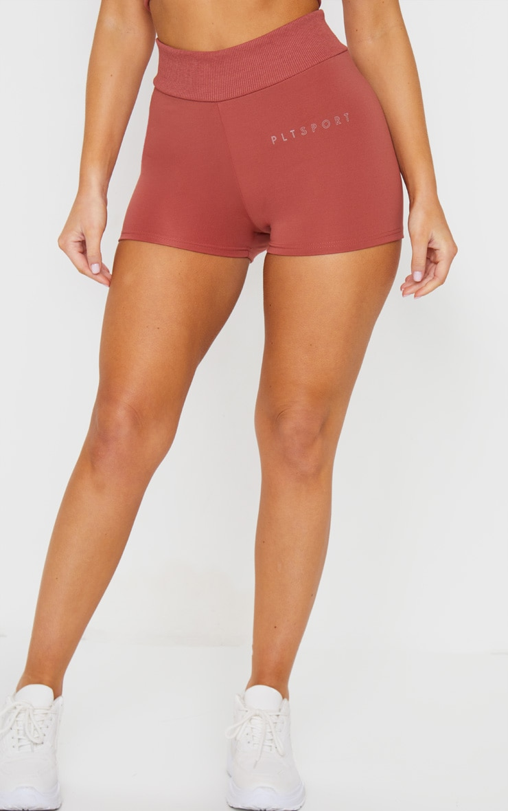 PRETTYLITTLETHING Dark Rose Sport Ribbed Waist Shorts 2
