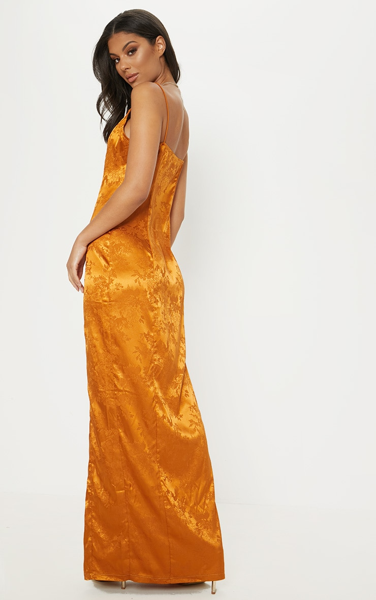 Mustard Jacquard Button Detail Maxi Dress 2