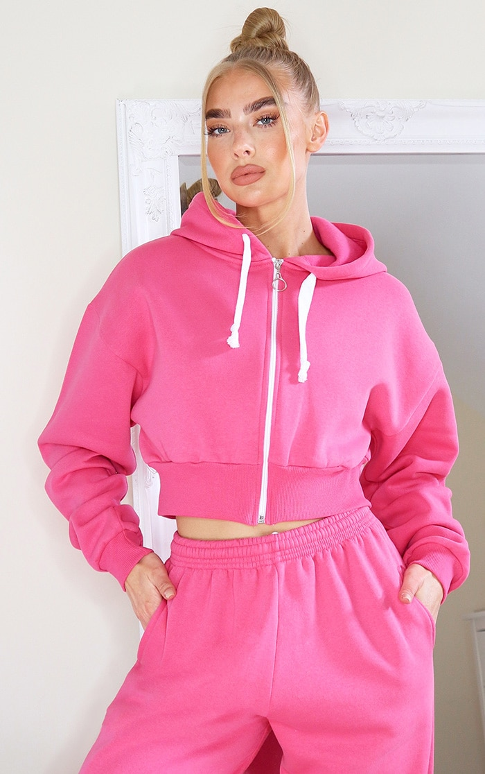 Hot Pink Thick Zip Up Drawstring Cropped Hoodie