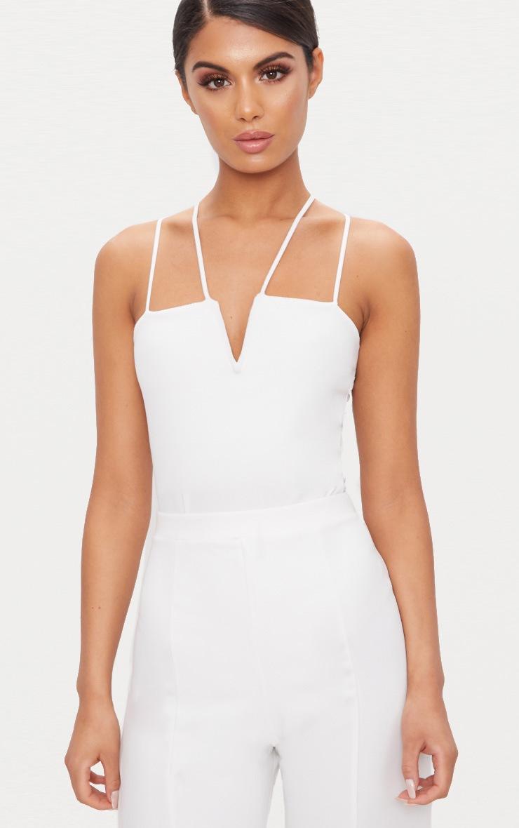 White Strappy V Bar Thong Bodysuit  1
