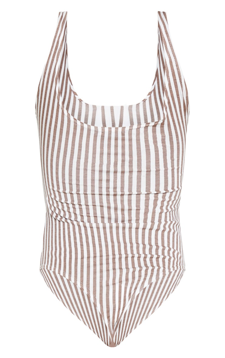 Brown Stripe Button Up Sleeveless Bodysuit 4