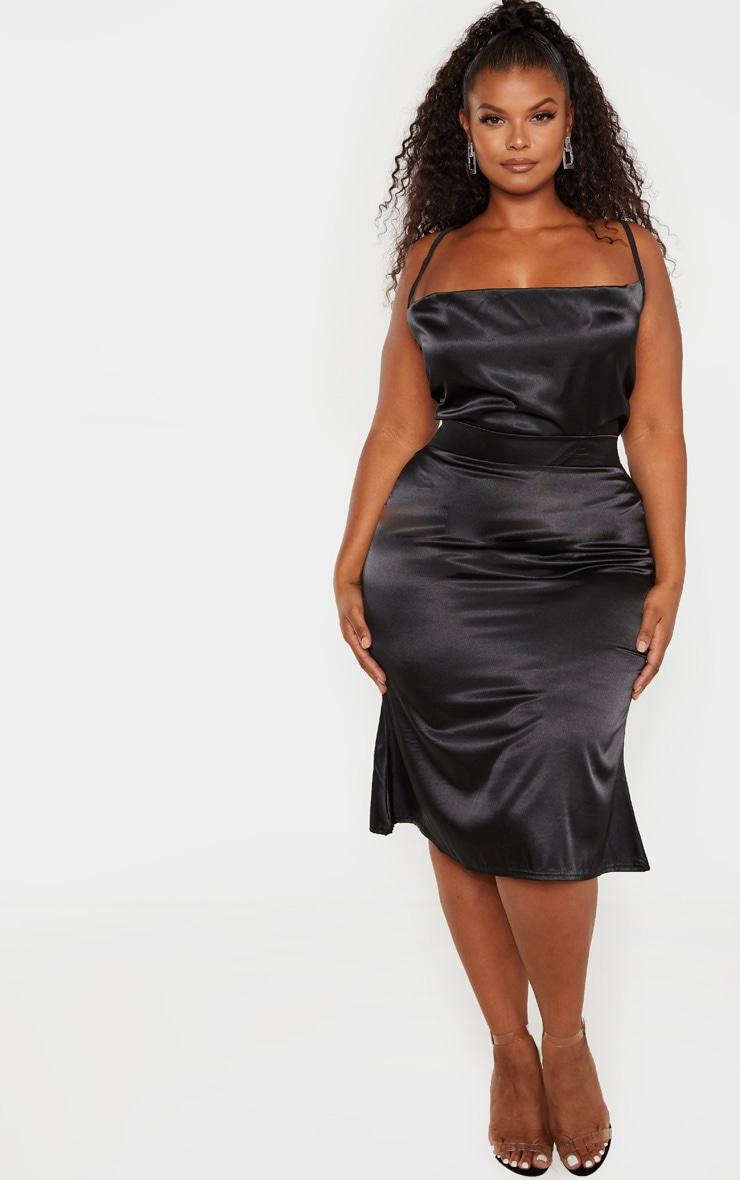 Plus Black Satin Flare Hem Midi Skirt  1