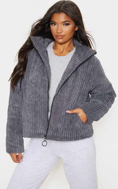 Charcoal Ribbed Textured Oversized Puffer