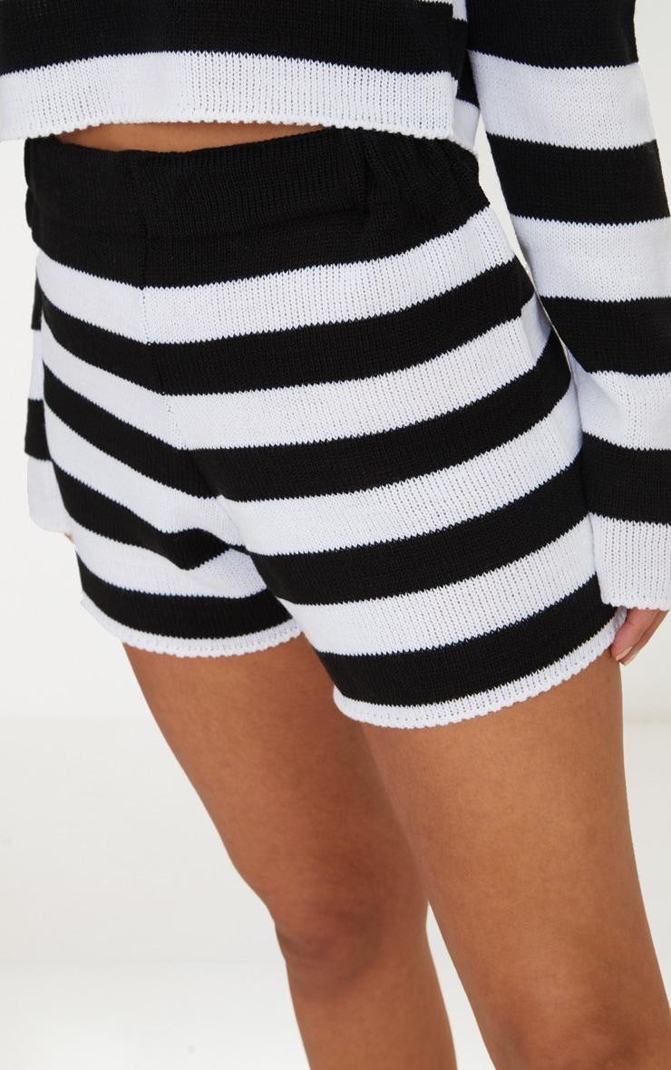 Petite Black Striped Knit Shorts 6