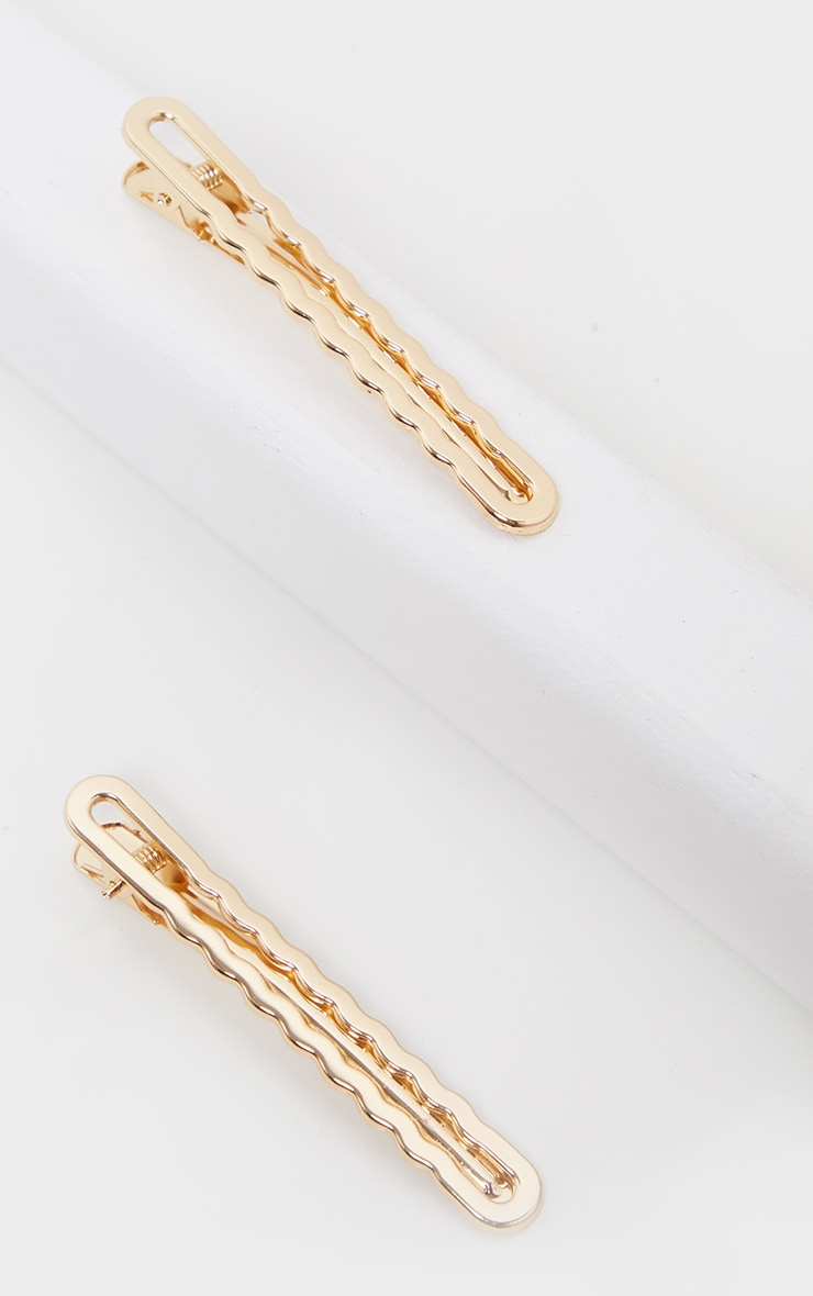 Gold Wavy Edge Two Pack Hair Clips 2