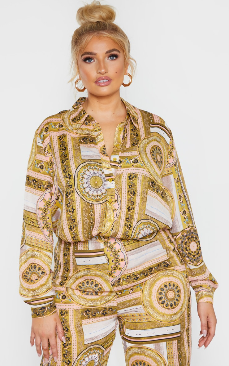 Plus Multi Chain Print Oversized Shirt 1
