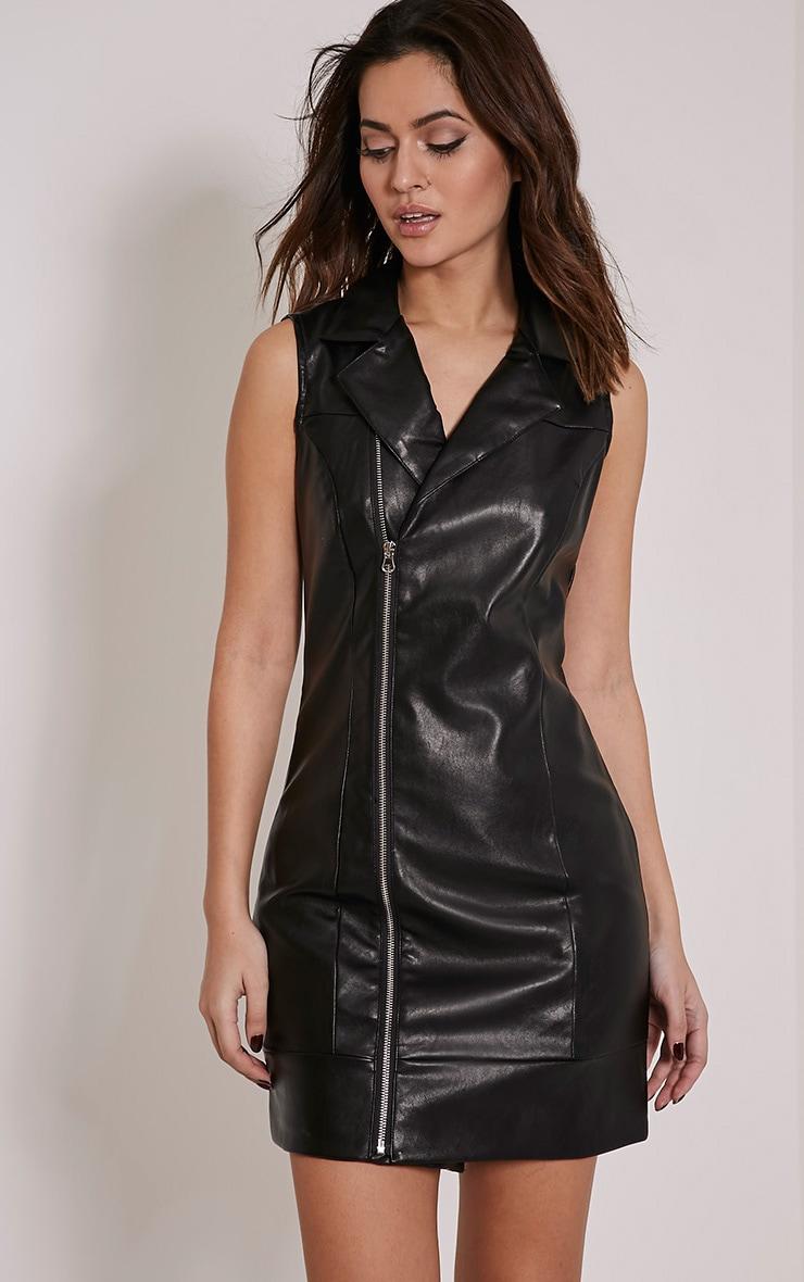 Chantal Black Faux Leather Blazer Dress 1