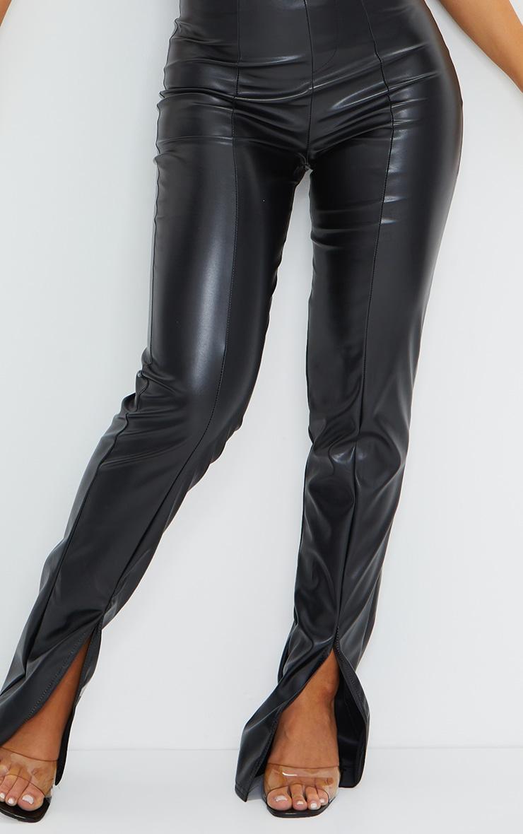 Black Faux Leather Seam Detail Split Hem Trousers 4