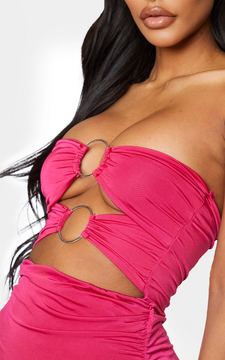Shape Bright Pink Slinky Ring Detail Ruched Bodycon Dress 4